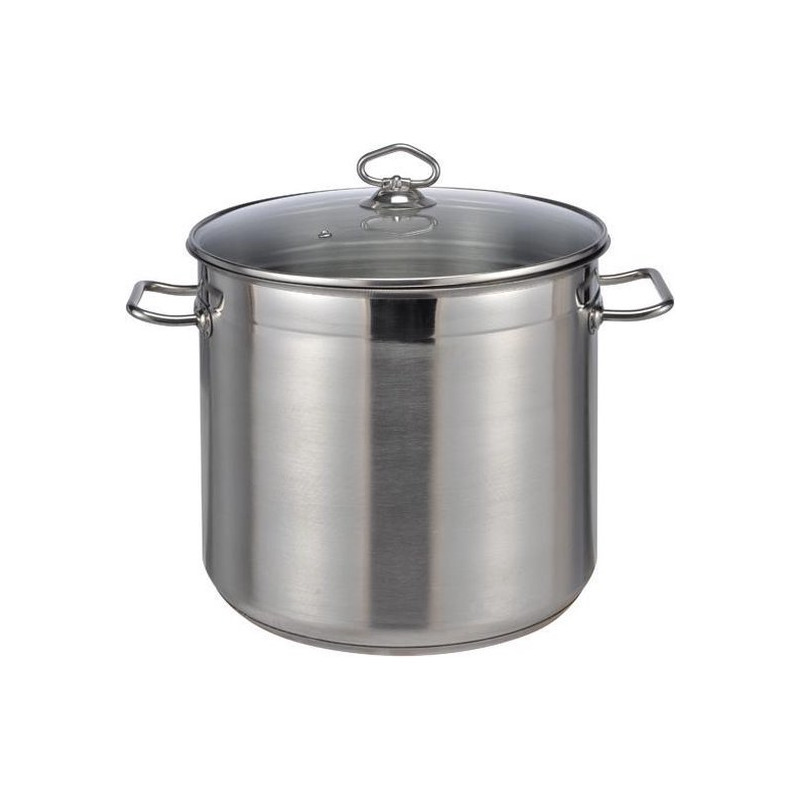 1x rvs soeppan pannen 15 liter met glazen deksel