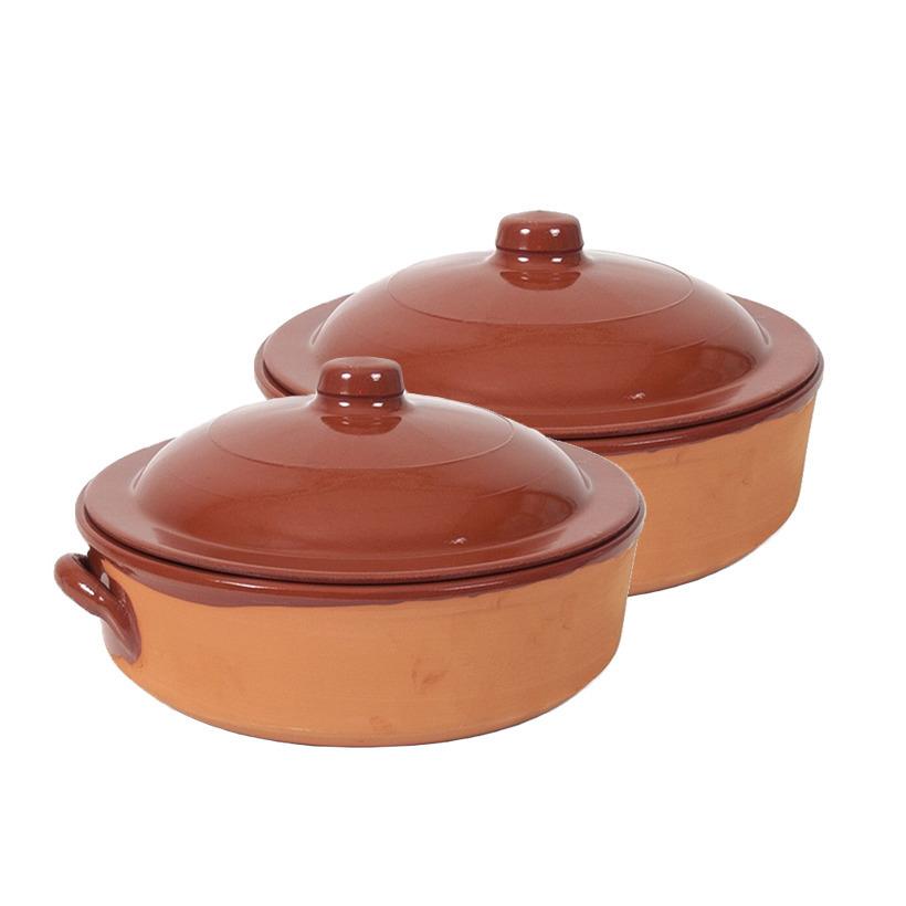 2x terracotta braadpannen ovenschalen met deksel 31 cm