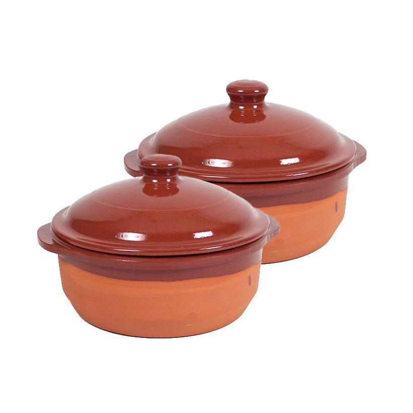 6x terracotta braadpannen ovenschalen klein met deksel 20 cm