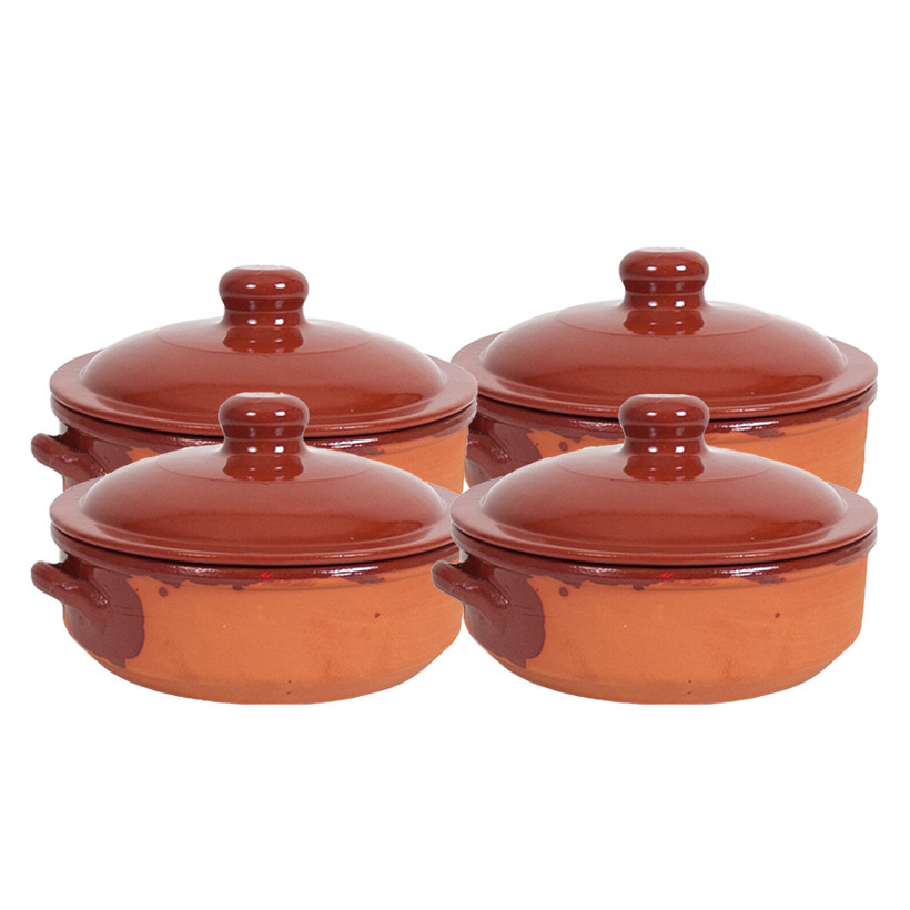 8x terracotta braadpannen ovenschalen klein met deksel 24 cm
