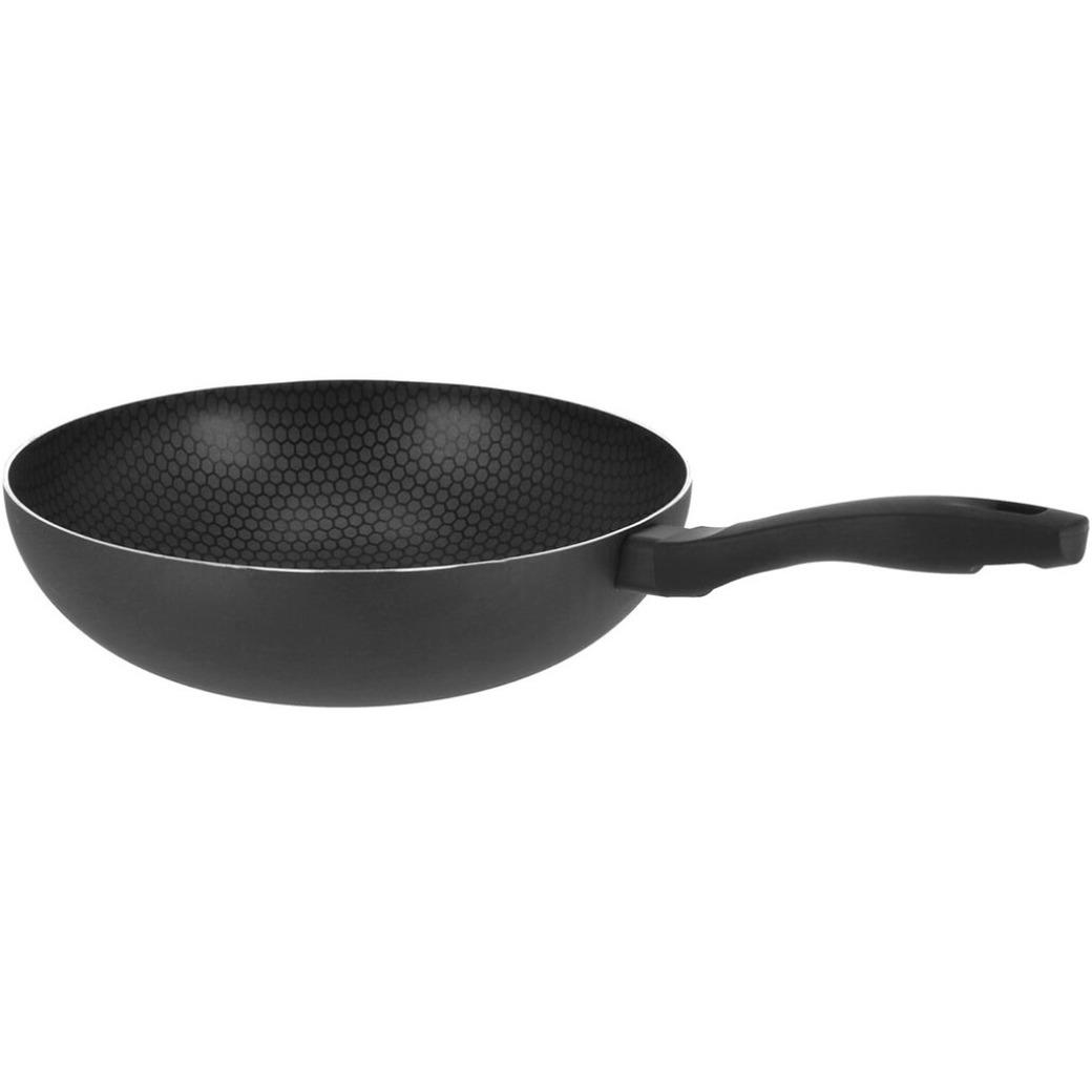 Mare zwarte wokpan honingraat voor alle hittebronnen 29 cm
