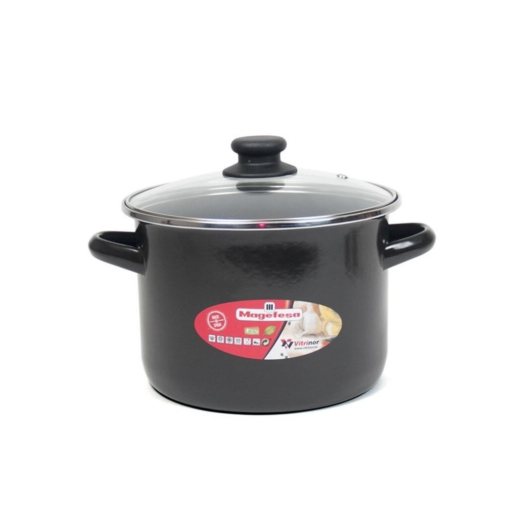 Rvs kookpan soeppan met glazen deksel 18 cm 6 liter