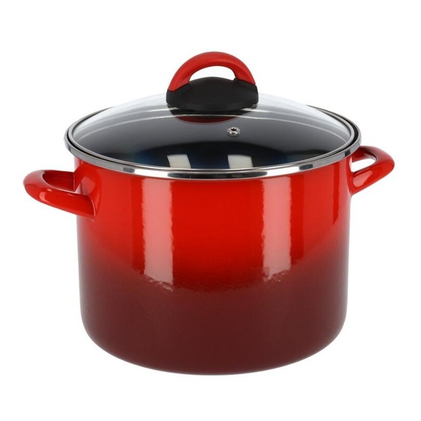 Rvs rode kookpan soeppan met glazen deksel 18 cm 5 liter