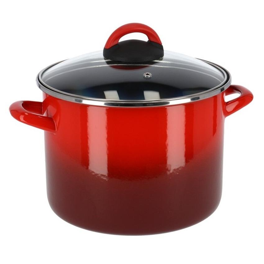 Rvs rode kookpan soeppan met glazen deksel 20 cm 7 liter