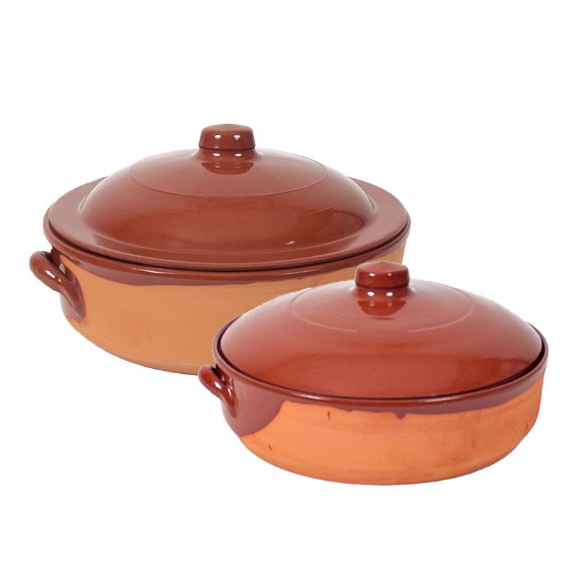 2x terracotta braadpannen ovenschalen met deksel 31 cm en 28 cm
