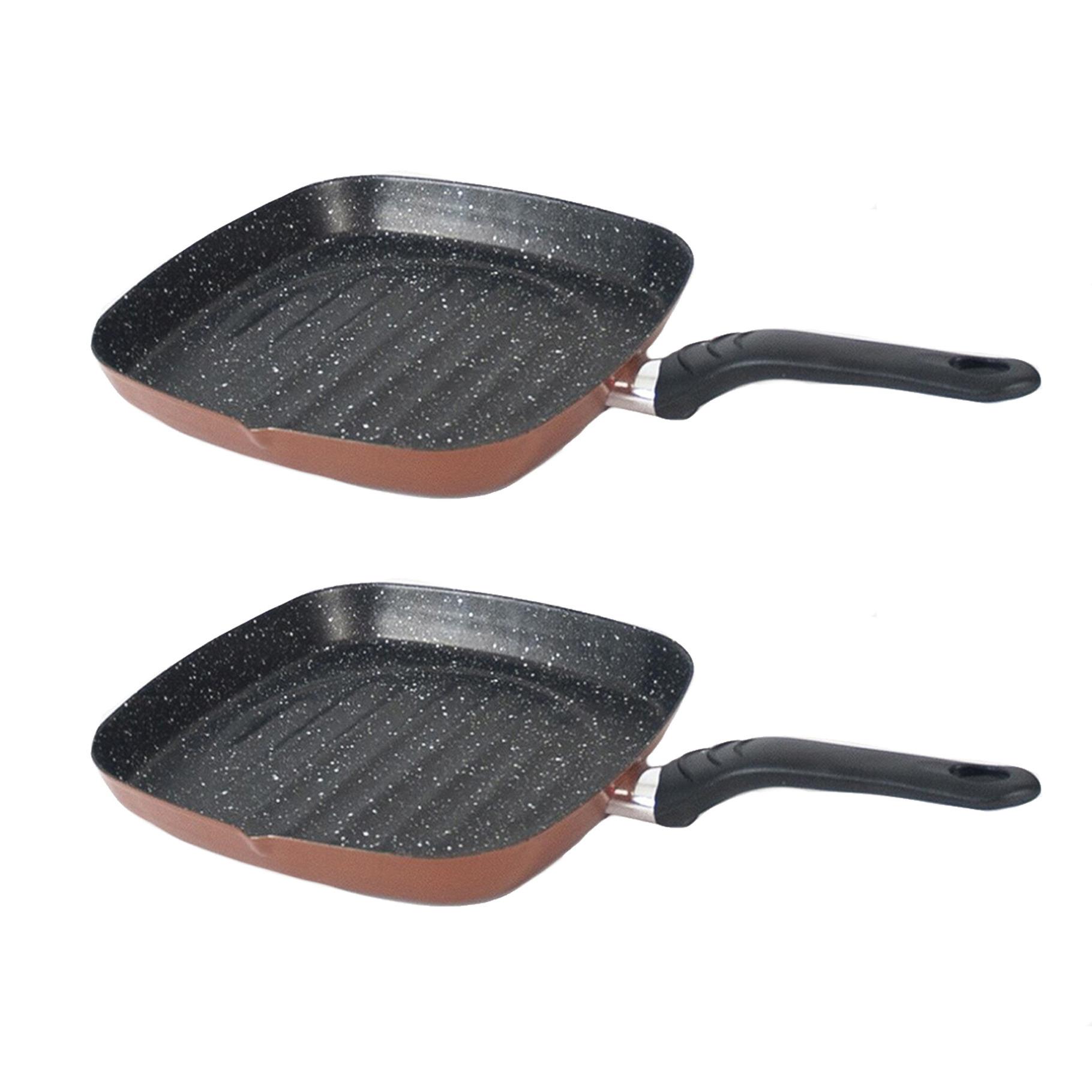 Set van 2x stuks aluminium grillpan burgos vierkant met anti aanbak laag 27 cm