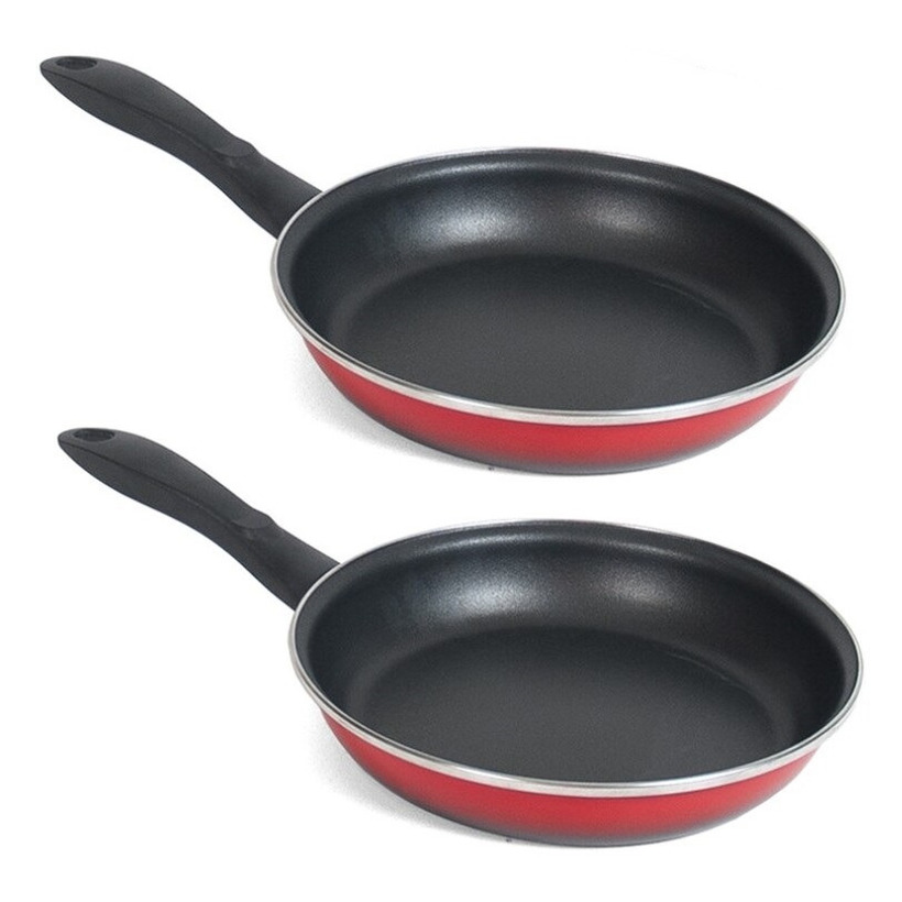 Set van 2x stuks aluminium koekenpan hapjespan merida rood met anti aanbak laag 24 cm