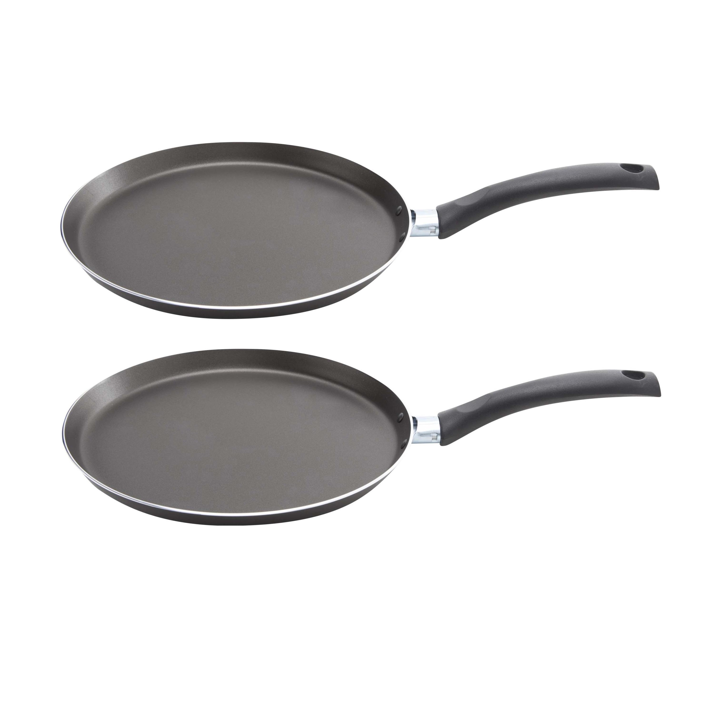 Set van 2x stuks aluminium pannekoekenpan chef line pro met anti aanbak laag 26 cm