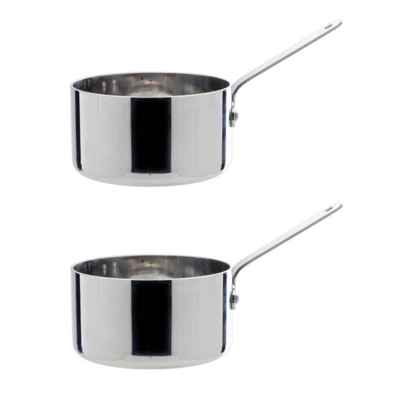 Set van 2x stuks mini steelpan sauspan rvs 8 cm