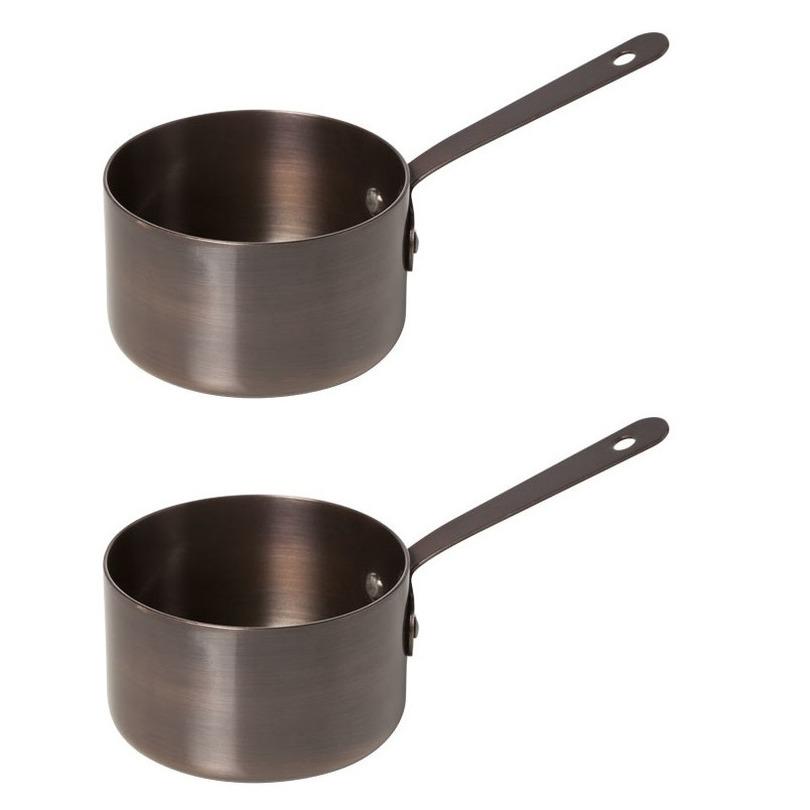 Set van 2x stuks mini steelpan sauspan rvs koper 8 cm