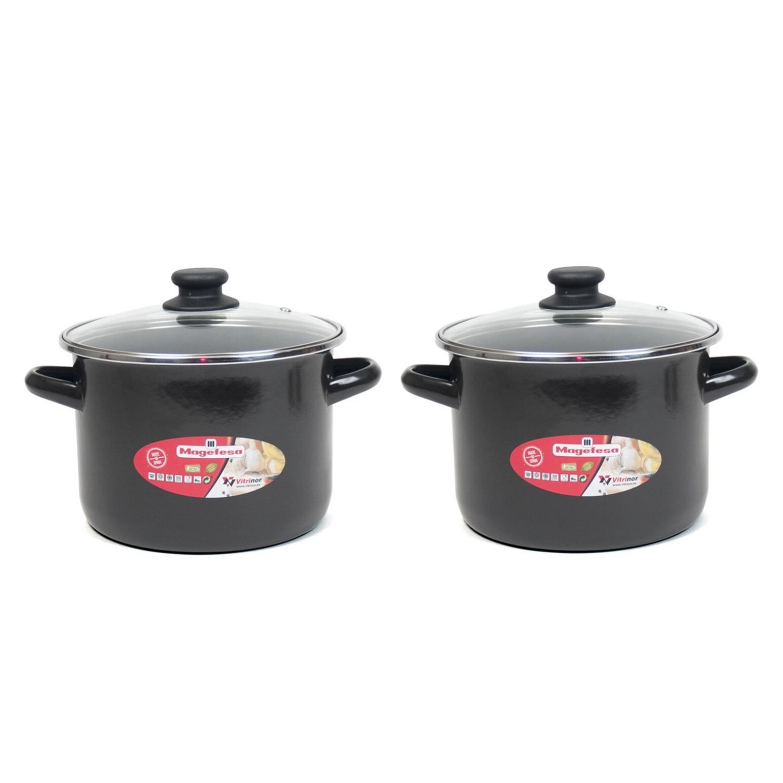 Set van 2x stuks rvs kookpan soeppan met glazen deksel 18 cm 6 liter
