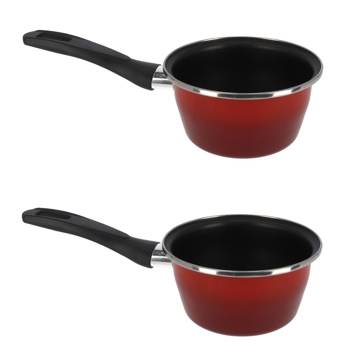 Set van 2x stuks steelpan sauspan rood anti aanbaklaag 14 cm