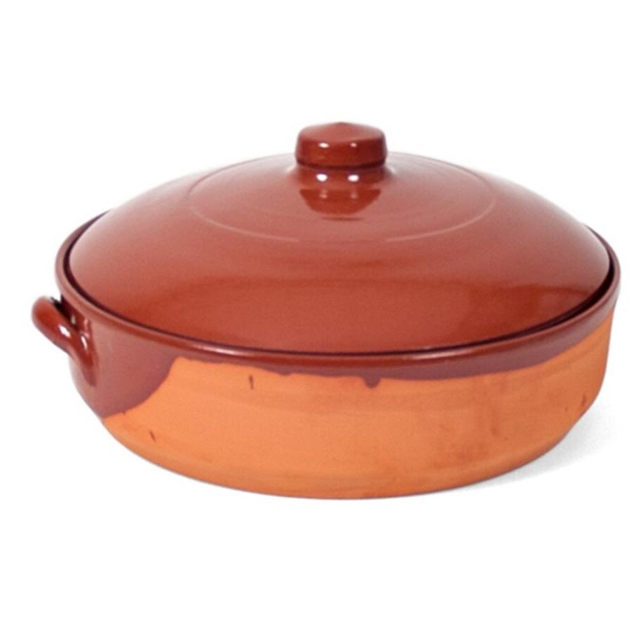 1x terracotta braadpannen ovenschalen met deksel 28 cm