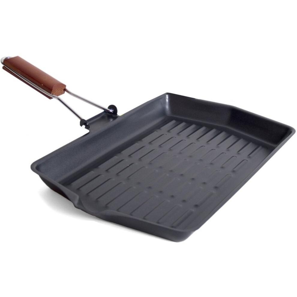 Zwarte metalen grillpan 38 x 45 cm met inklapbaar houten handvat