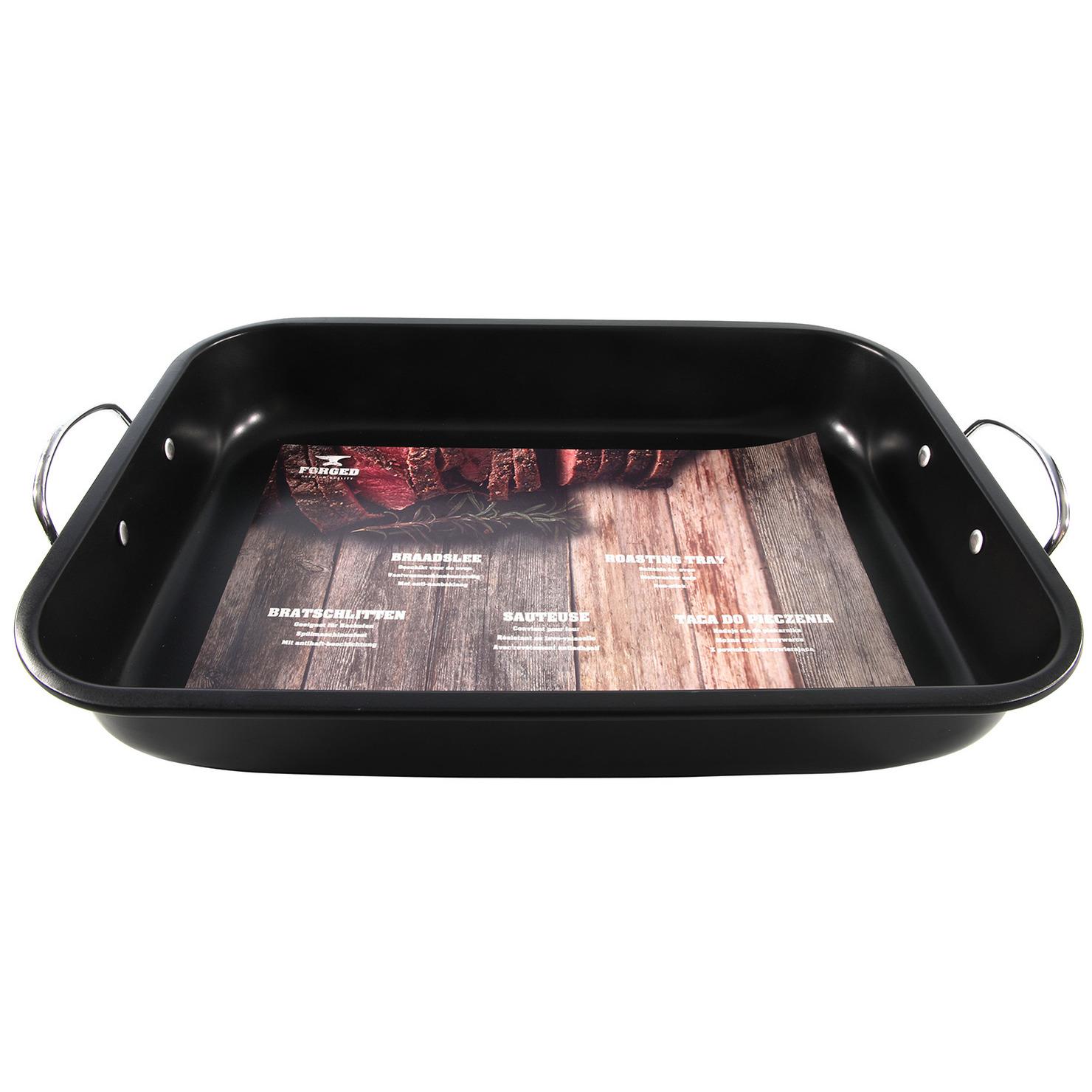 Zwarte ovenbraadpan/braadslede 39 x 29 cm rvs